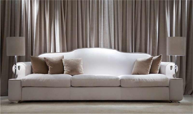 Дорогой белый прямой классический диван Дипломат