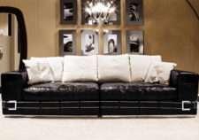 Черный прямой кожаный диван Coupe в стиле Арт-Деко