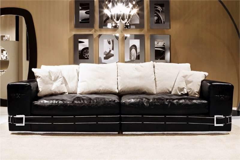 Итальянский прямой черный диван COUPE в стиле Арт-Деко