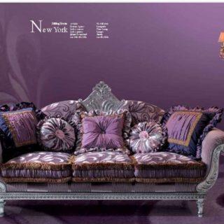 Классический диван Нью Йорк с серебряной патиной в стиле барокко.