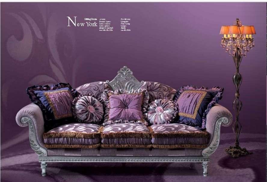 Классический диван Нью Йорк с серебряной патиной в стиле барокко. Италия.