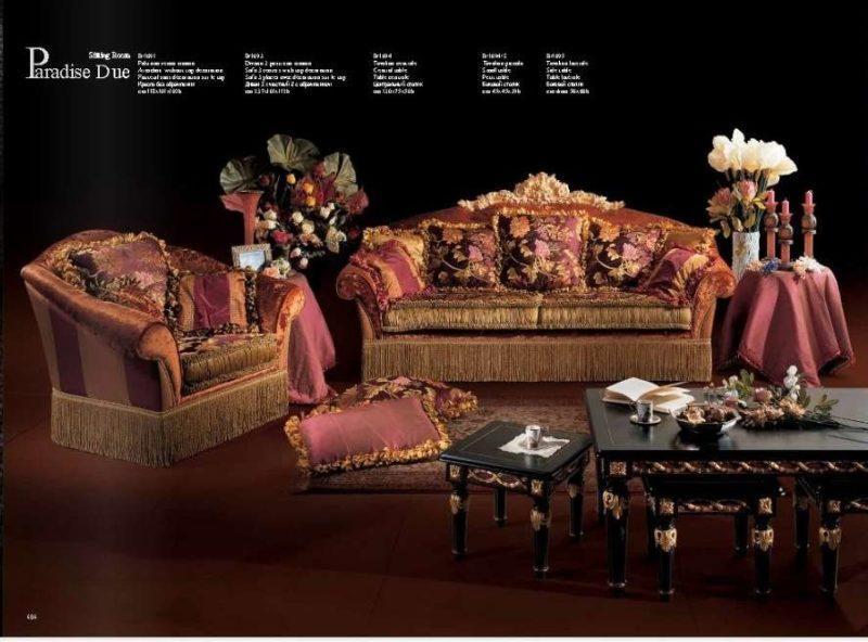 Богатый итальянский бордовый диван элит класса Парадайз.