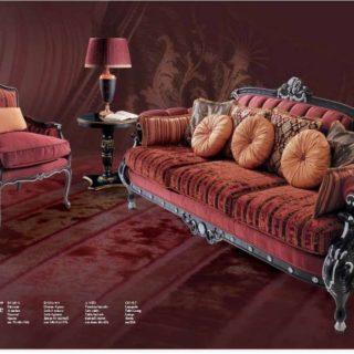 Бордовый диван Принцесса в стиле Арт-Деко, Италия