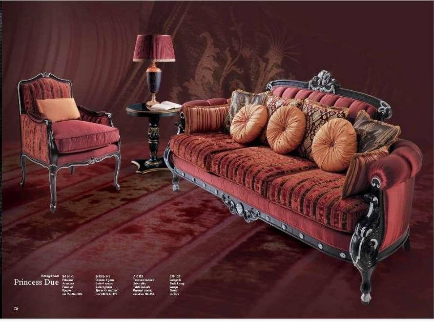 Итальянский мягкий комплект мебели в стиле Арт-Деко Принцесса в бордовом цвете.