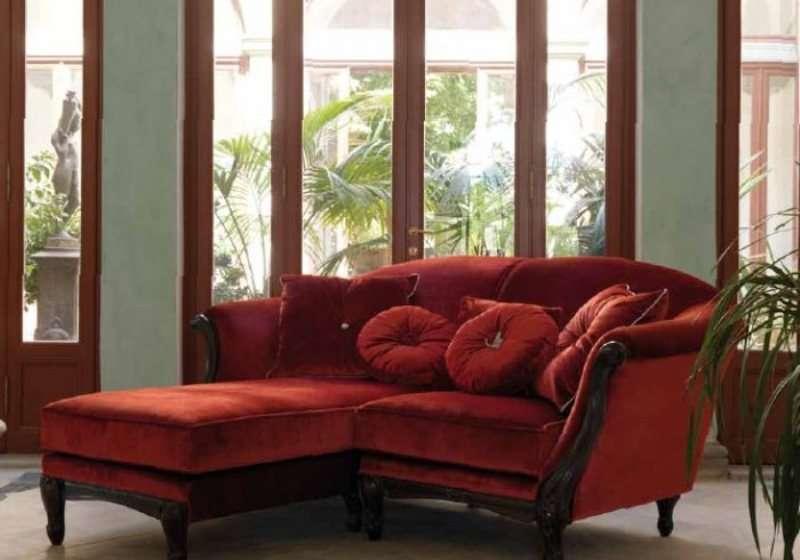 Красный диван двойка с оттоманкой 3142