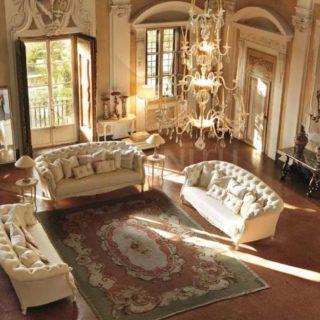 Большой прямой элитный итальянский белый диван 3121 SAVIO FIRMINO