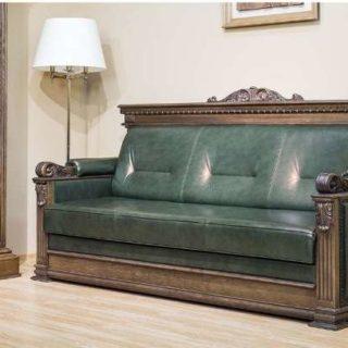 Прямой кожаный диван Лемберг в английском стиле. Мебус