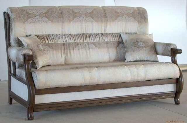 Прямой коричневый диван Лео