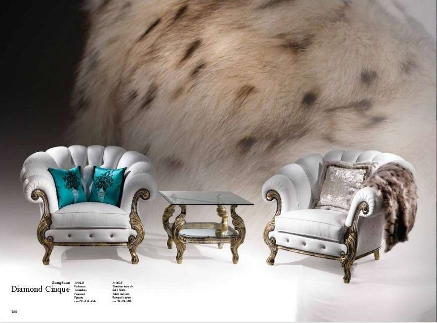 Белые элитные кресла в набор мягкой мебели Диамант
