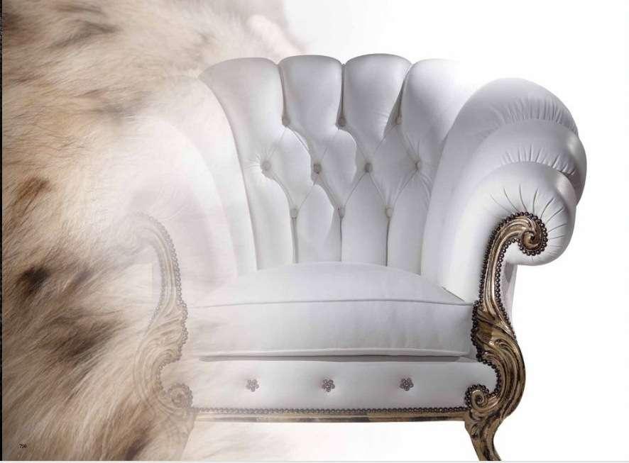 Глубокое итальянское белое кресло Диамант