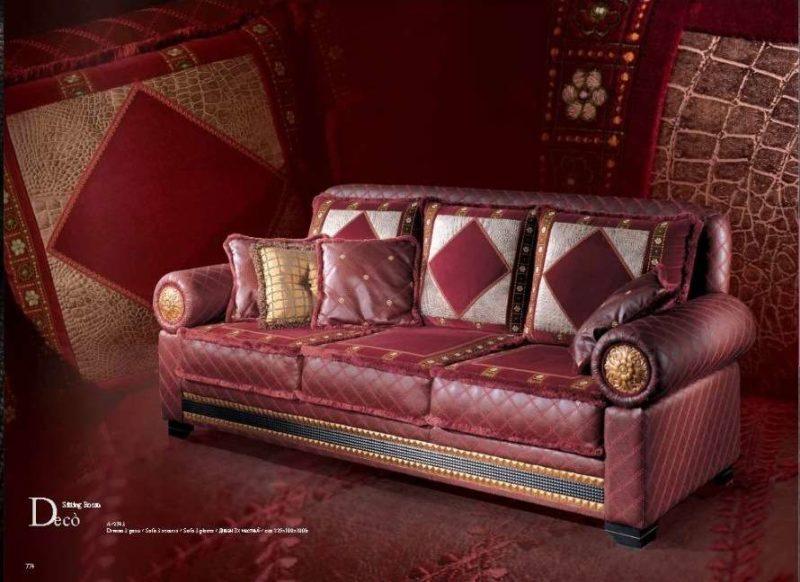 Классический кожаный бордовый диван Деко. Италия.