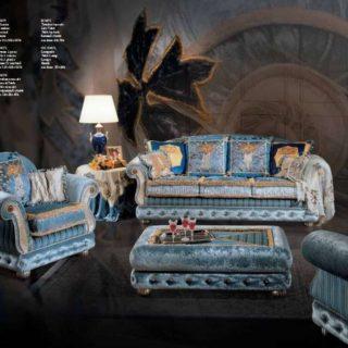 Дорогой синий комплект итальянской мягкой мебели Джамайка
