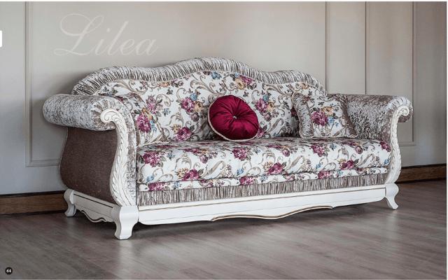Белый раскладной классический диван Лилея.
