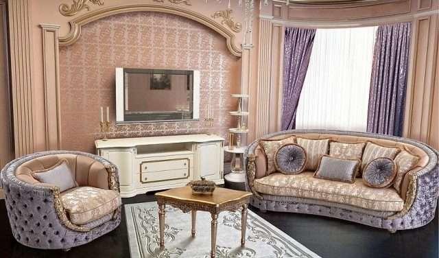 Классический диван с креслами Аззаро с позолотой. Стиль барокко