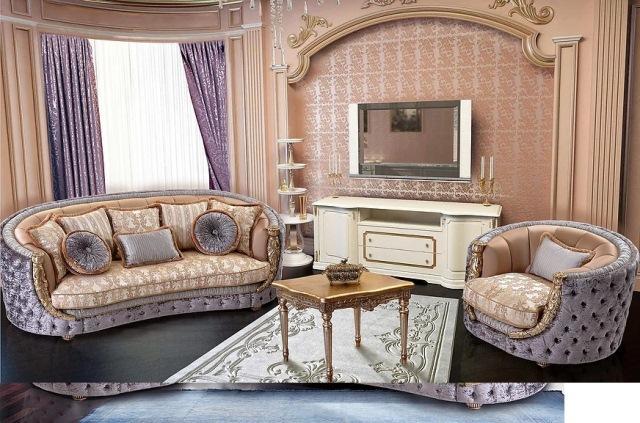 Классический диван с креслами Аззаро в стиле барокко