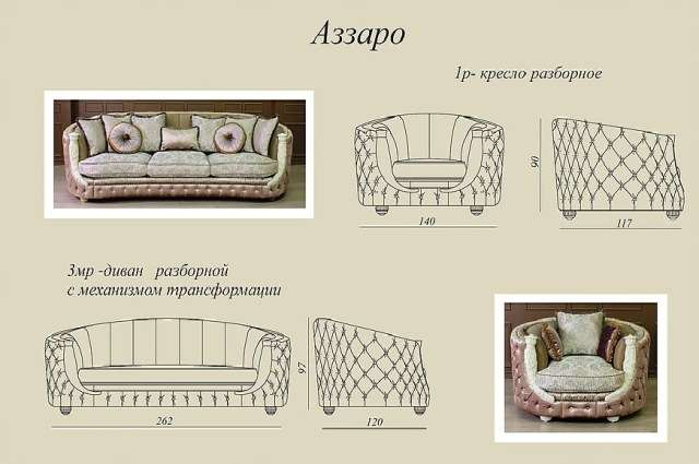 Размеры и схемы дивана Аззаро