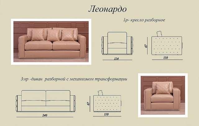 Схемы п размеры дивана Леонардо.