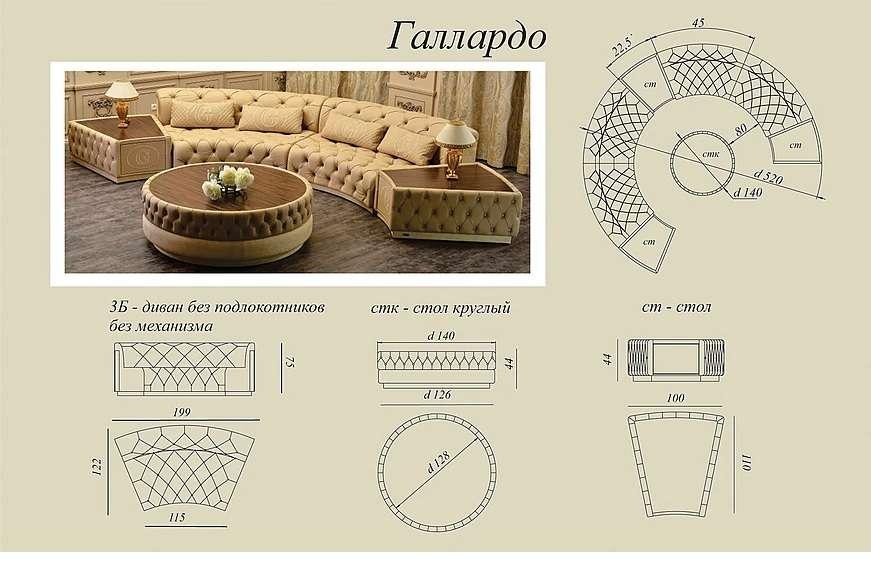 Схемы и размеры дивана Галлардо