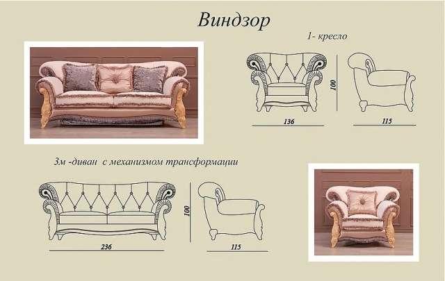 Размеры и схемы дивана Винзор.