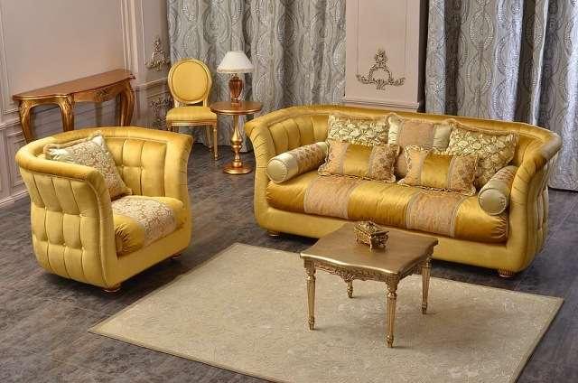 Классический золотой комплект мягкой мебели Бриони