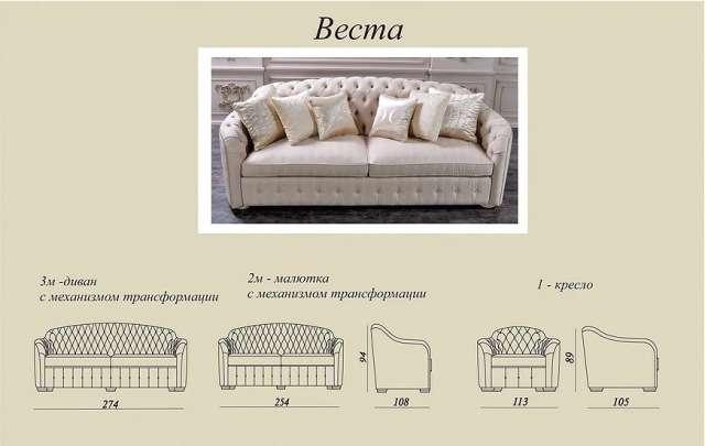 Схемы и размеры дивана VESTA