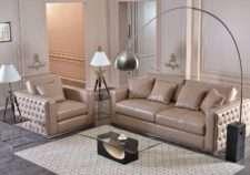 Классический прямой диван кожаный Леонардо