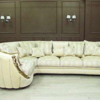 Классический белый угловой диван Претория