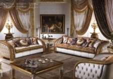 Дорогой белый классический диван с золотом Шарм. Италия