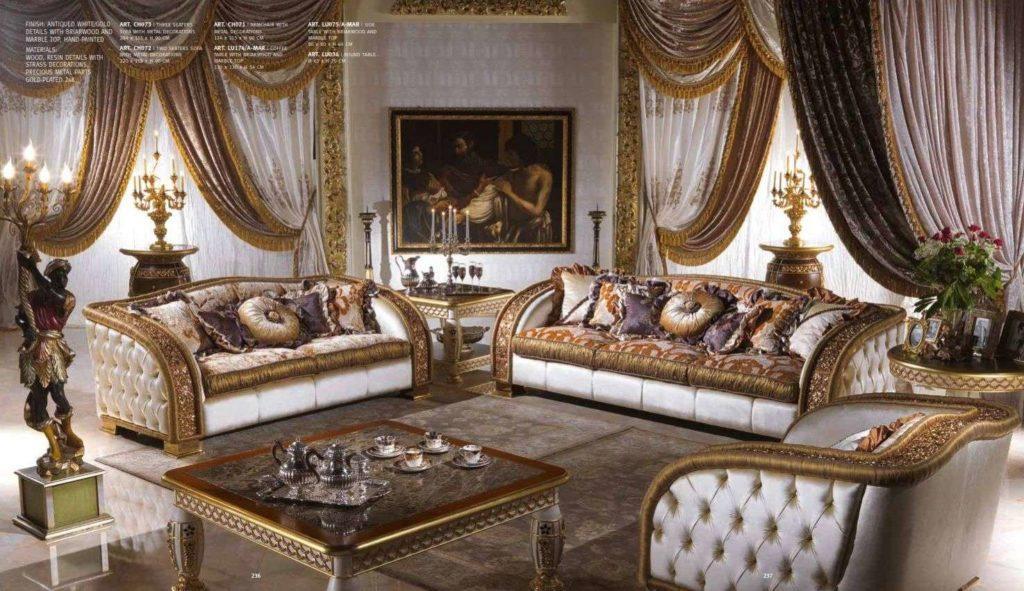 Белый классический диван с золотом Шарм. Италия