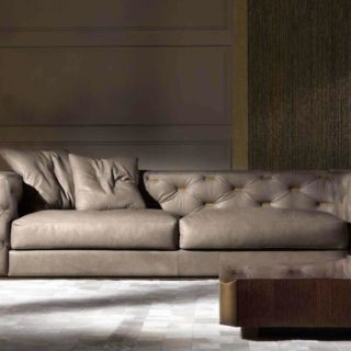 Прямой кожаный диван в стиле капитоне Тернер
