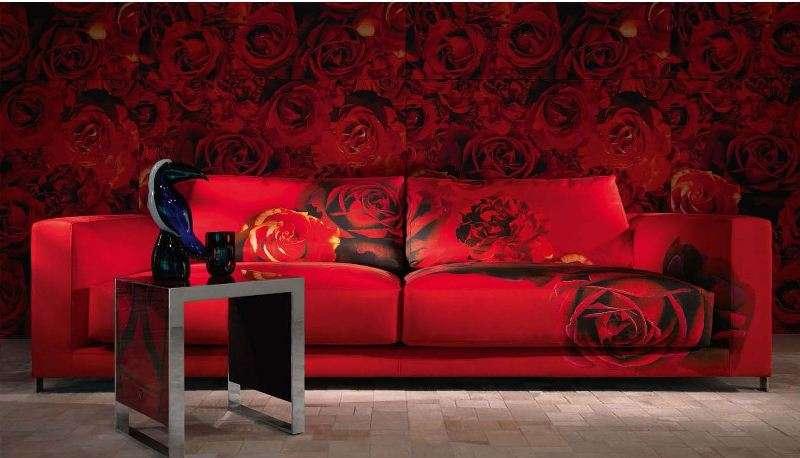 Красный дорогой диван от фабрики Роберто Кавалли
