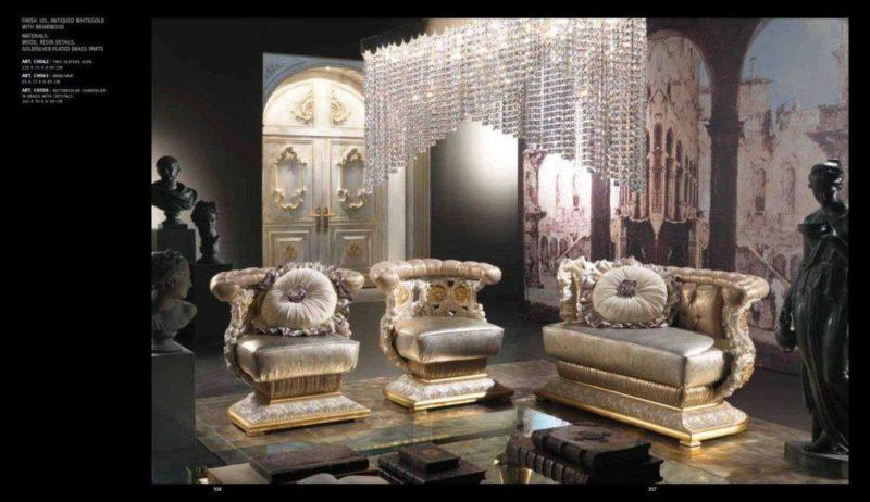 Дорогой двухместный диван с креслами Шарм-3 в белом цвете с золотом