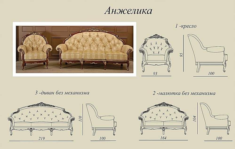 Размеры дивана и кресел Анжелика