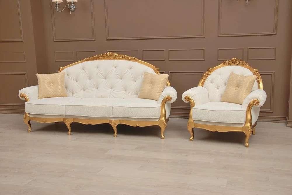 Белый диван и кресла Анжелика в золоте