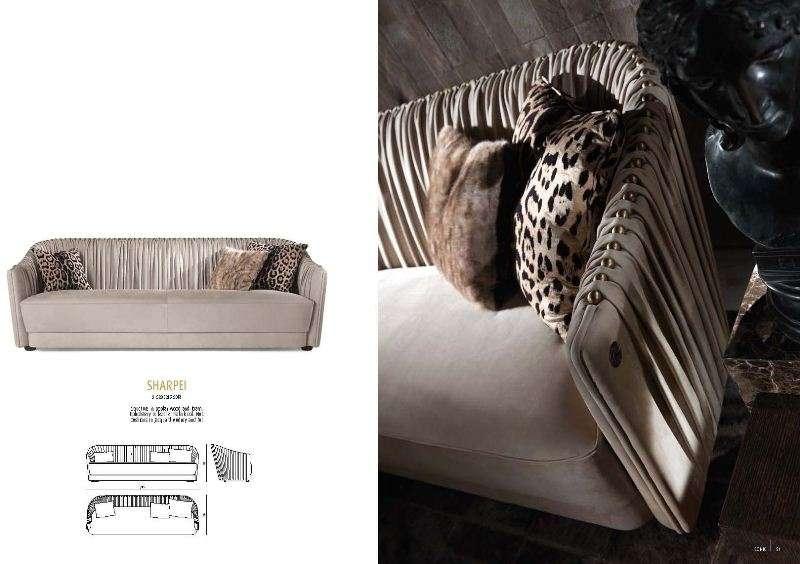 Прямой диван с креслами Шарпей.