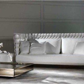 Белый кожаный диван с плетением I-wish. Италия