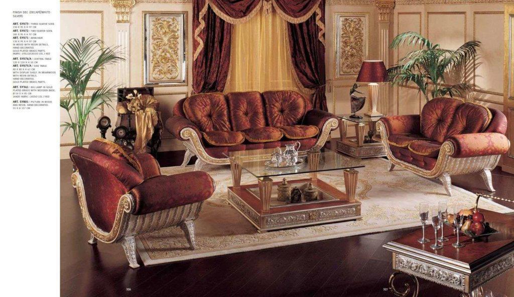 Дорогая мягкая мебель Каппеллетти в терракотовых цветах.