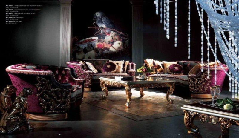 Элитный дорогой бордовый диван в венецианском стиле