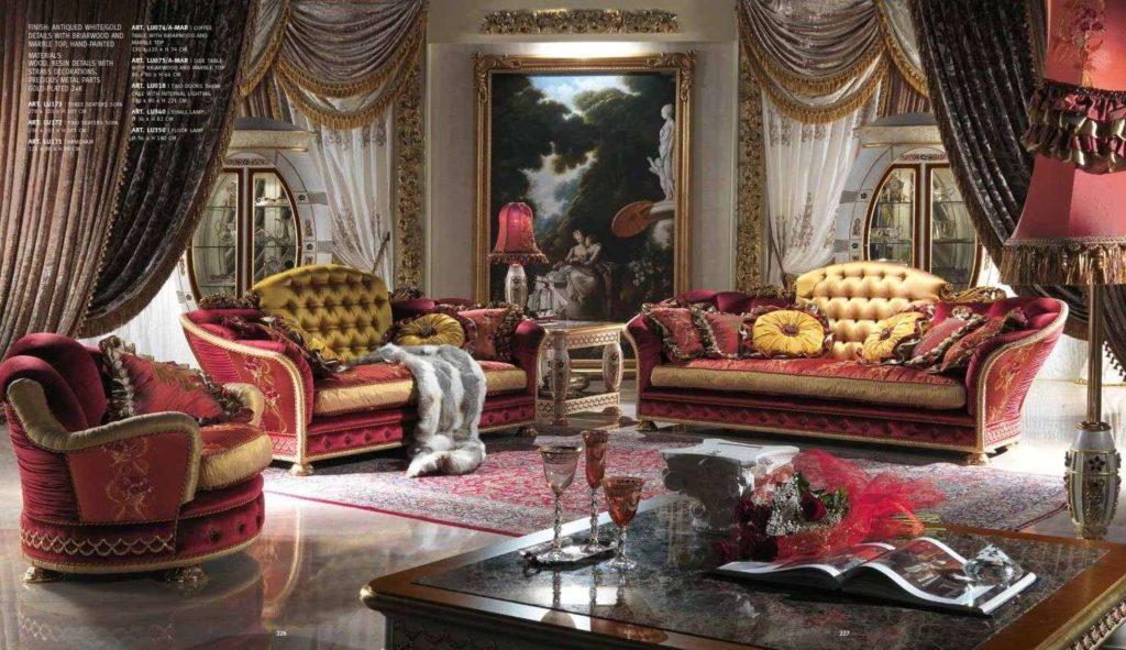 Дорогой бордрвый диван из коллекции Каппеллетти