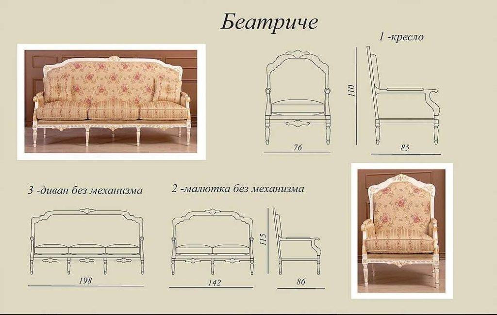 Схема и размеры диванов и кресел Беатриче
