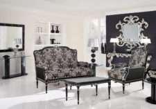 Элитный черный диван двухместный и кресло Беатриче в стиле барокко