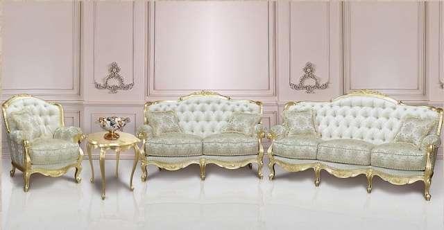 Белый резной комплект мягкой мебели Балеро, Гранд