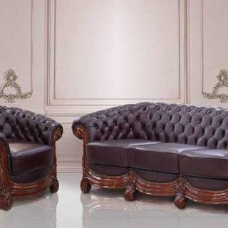 Кожаный диван с отделкой капитоне Бирмингем, Гранд