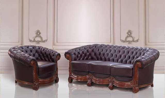 Дорогой классический мягкий диван из натуральной кожи Бирмингем, фабрика Гранд