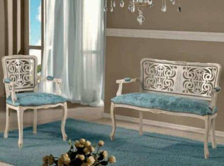 Итальянский резной диванчик с креслом 311, Диванетти