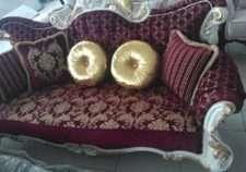 Бордовый набор мягкой мебели Лара в золоте