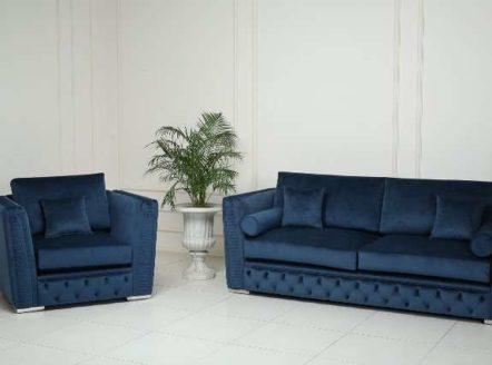 Классический синий диван Манчестер в стиле капитоне, Америка