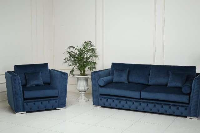 Синий диван Манчестер в стиле капитоне, Америка
