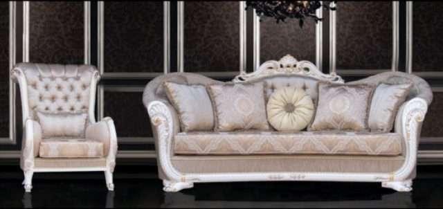 Белый классический диван Валенсия в стиле барокко, Турция