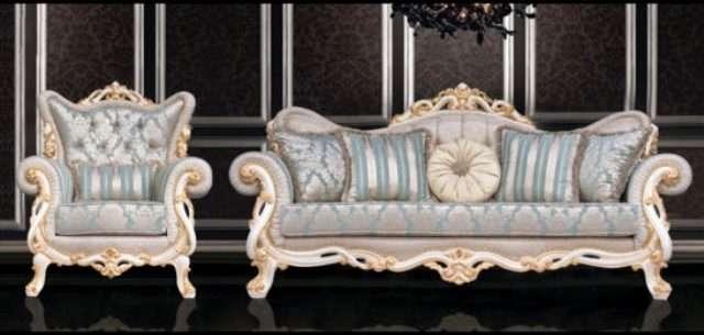 Резной белый диван в стиле барокко Турин, Турция